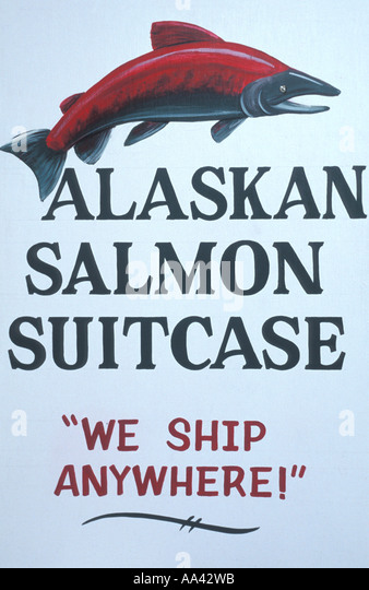 Alaska  salmon suitcase we ship anywhere - Stock Image