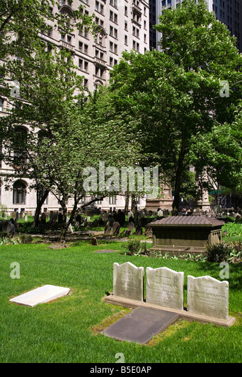 Trinity Church Graveyard, Lower Manhattan, New York City, New York, USA, North America - Stock Image