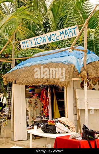 Costa Maya  Mahahual Majahual fishing village Mexico mexican wol mart sign - Stock Image