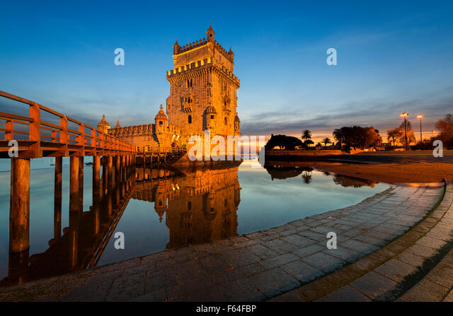 Belem Tower in Lisbon at sunset - Stock Image