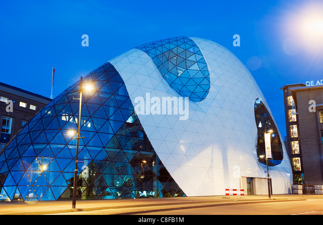 Modern architecture in 18 Septemberplein designed by Italian architectural firm of Massimiliano Fuksas, Eindhoven, - Stock Image