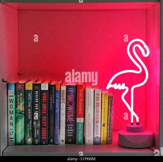A pink neon flamingo light on a bookshelf with books - Stock Image