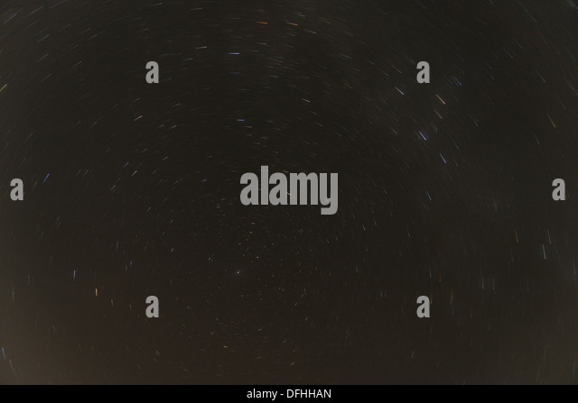 Stars are moving around polaris - Stock Image