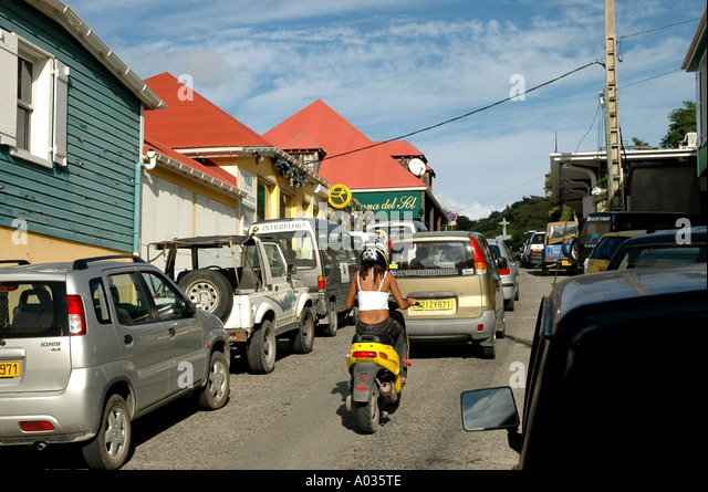 St Barths St Barts bart barthelemy bart s barth s beach beaches motor scooter traffic gustavia - Stock Image