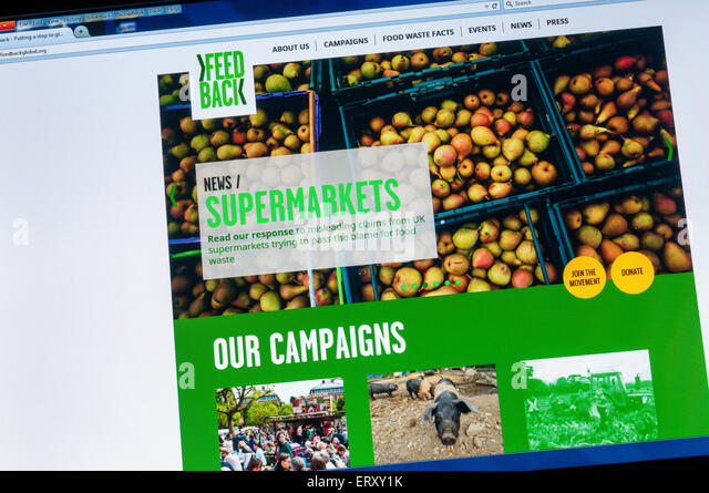 Homepage of the FeedBack website campaigning against supermarket food waste. - Stock Image