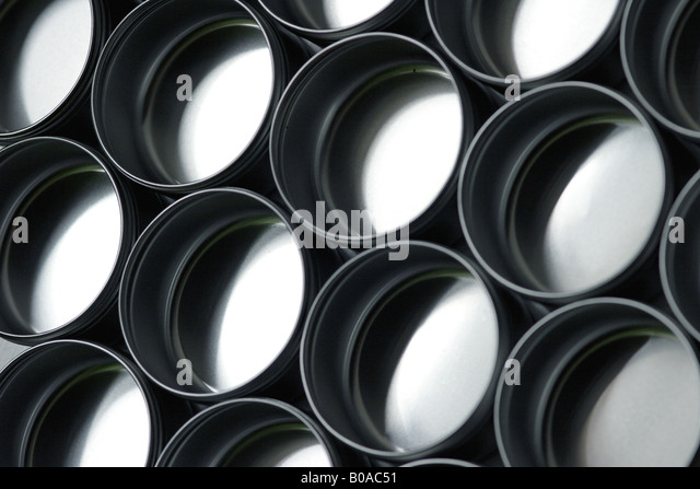 Metal containers, close-up - Stock Image