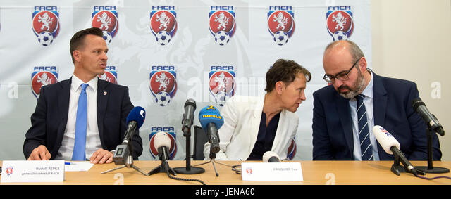 From left Secretary General of the FACR Rudolf Repka, Deputy of the UEFA Eva Pasquier and Deputy of the FIFA Nodar - Stock-Bilder