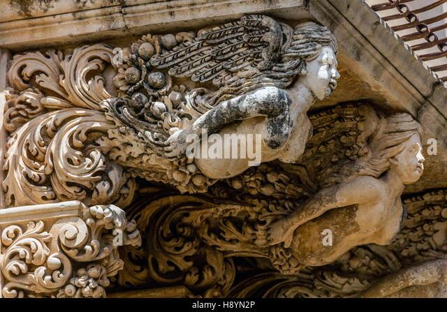 18th-century Baroque palace Nicolaci del Principe di Villadorata in Noto, Sicily, Italy - Stock Image