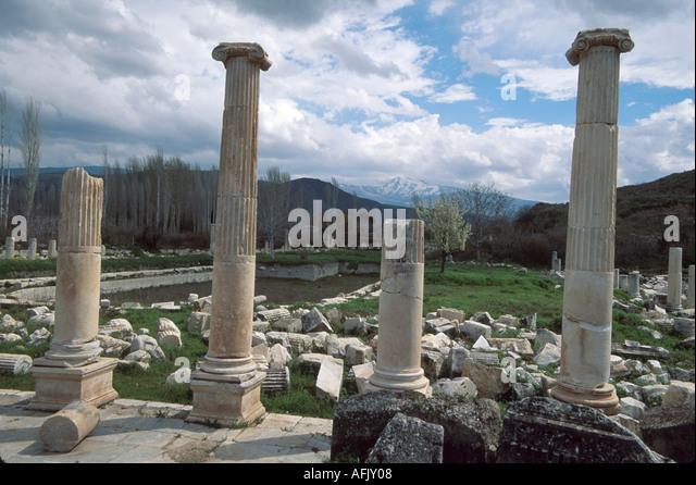 Turkey Aphrodisia Baths of Hadrian ruins of Greco Roman city built to honor goddess Aphrodite columns - Stock Image
