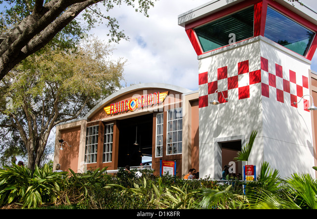 Legoland Florida Flying School ride building, Winter Haven, FL - Stock Image