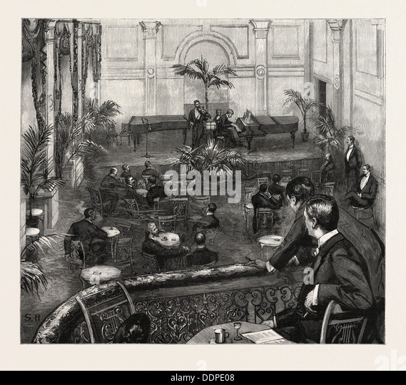 AN EVENING AT THE MEISTERSINGERS CLUB, ST. JAMES'S STREET, LONDON, engraving 1890, UK, U.K., Britain, British, - Stock Image