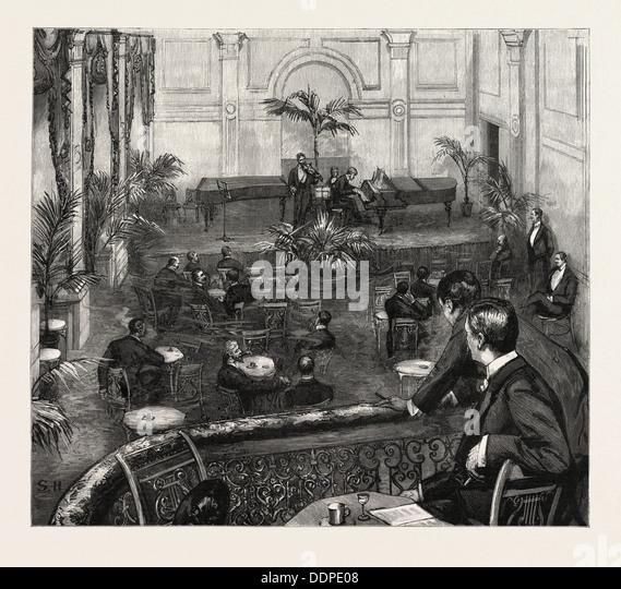 AN EVENING AT THE MEISTERSINGERS CLUB, ST. JAMES'S STREET, LONDON, engraving 1890, UK, U.K., Britain, British, - Stock Image