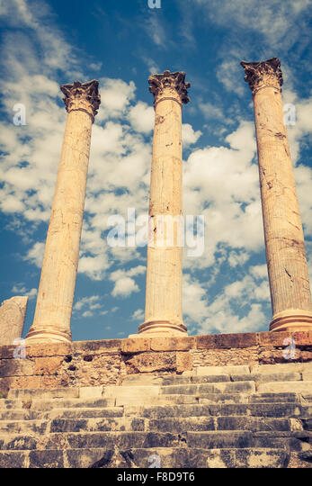 Thuburbo majus, Tunisia a few of the remaining pillars which once builded the Capitol - Stock Image