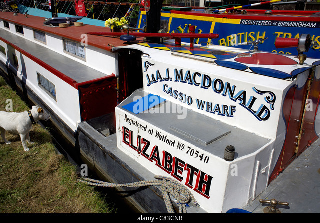 Traditional historic narrowboat Elizabeth, moored on the Trent and Mersey Canal during the 2011 Inland Waterways - Stock Image