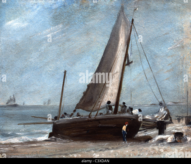 Brighton Beach with Fishing Boat and Crew, by John Constable. Brighton, England,  early 19th century - Stock-Bilder