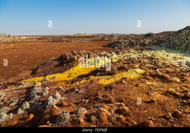 Dried sulphur pools on the summit of Dallol salt volcano, Ethiopia - Stock Image