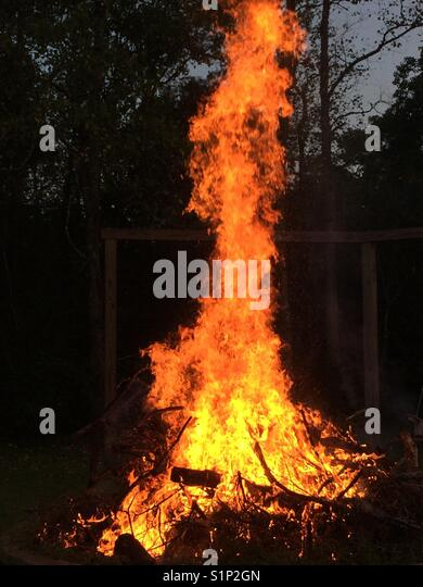 Intense camp fire - Stock Image