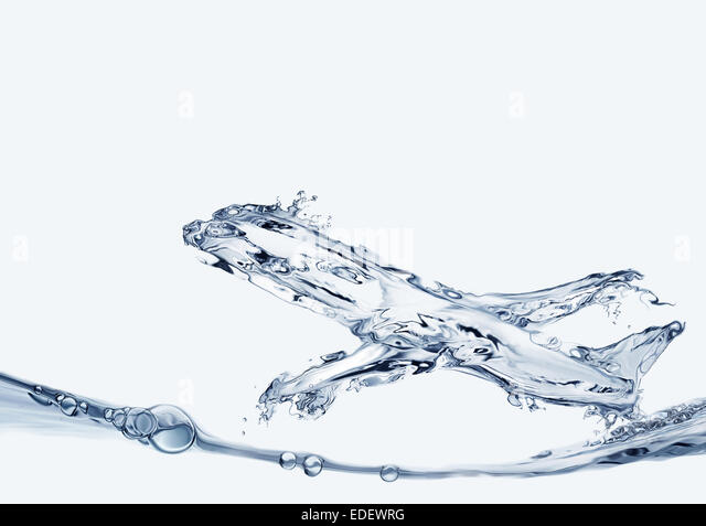 An airplane made of water flying upwards. - Stock Image