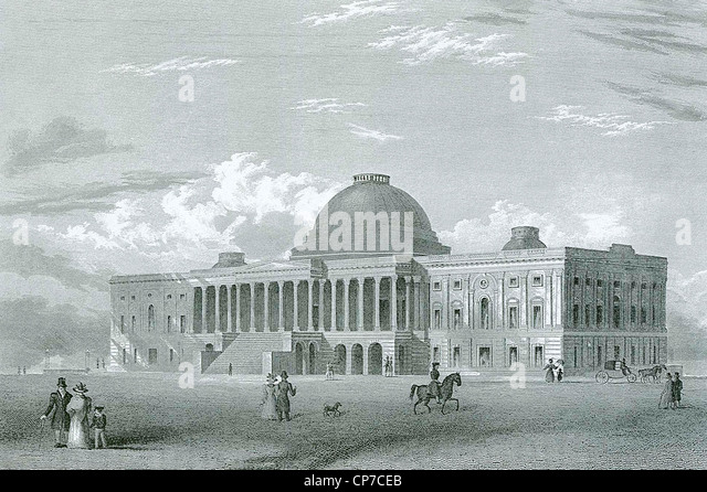 Engraving of United States Capitol building, Washington D.C, U.S.A. Engraved by Joseph Andrews in 1840. - Stock Image