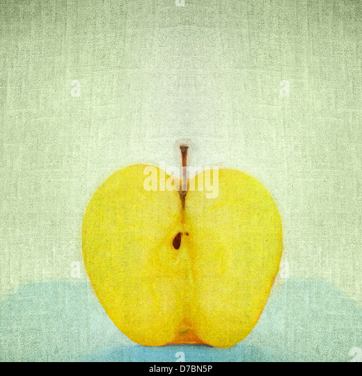Grunge retro vintage paper texture background. Apple cut - Stock Image