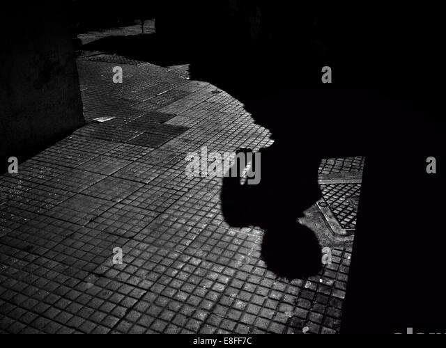 Brazil, Sao Paulo, Shadows of man on sidewalk - Stock Image