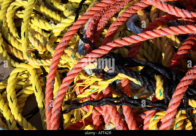 ropes and fishing equipment, Nova Scotia, Canada. Photo by Willy Matheisl - Stock Image