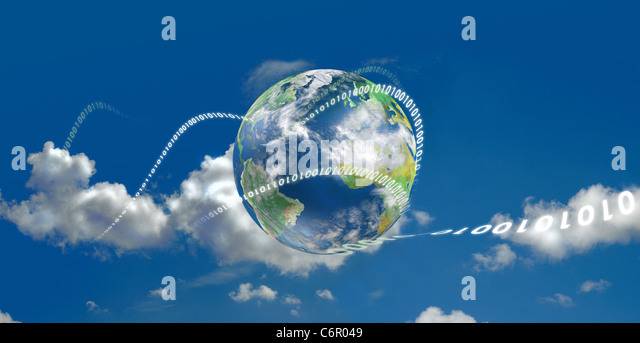 Illustrated with the earth and moving digits - Stock Image