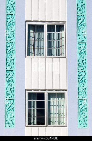 Detail of two Windows, Art Deco District, South Beach, Miami Beach, USA - Stock Image