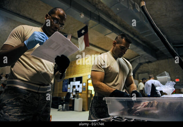 U.S. Air Force Tech. Sgt. Anthony Williams, 379 Blood Transshipment Center BTC, verifies information that Maj. Brian - Stock Image