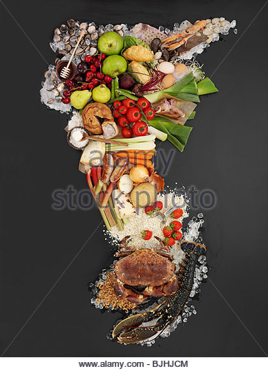 Map composed of various foods - Stock Image