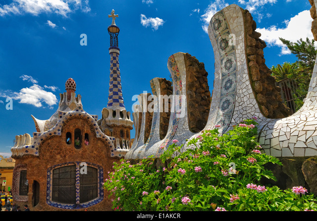 Entrance Pavilion View at Park Guell Designed bu Antoni Gaudi, Barcelona, Catalonia, Spain - Stock Image
