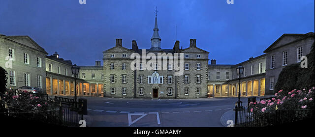 Robert Gordons College ( Auld Hoose ) pano,dusk in Aberdeen city centre,Scotland,UK - Stock Image
