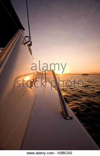 yacht detail at sunset - Stock Image