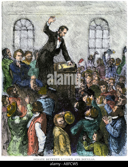 Debate between Abraham Lincoln and Stephen Douglas in Illinois 1850s - Stock Image