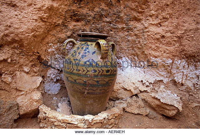 Libya Gharyan Pot by rock - Stock Image
