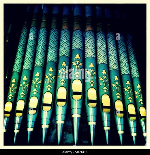 Organ pipes in church - Stock Image