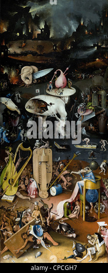 Hieronymus Bosch The Garden of Earthly Delights (right panel) - Hell 1504 Prado museum - Madrid - Stock Image
