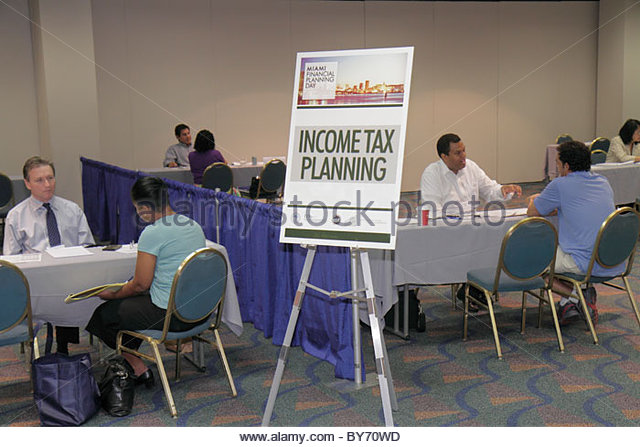 Miami Florida James L. Knight Convention Center Miami Financial Planning Day free advice guidance professional planners - Stock Image