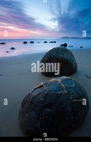 Moeraki Boulders at Dawn South Island New Zealand - Stock Image