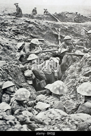British soldiers of the northern counties in destroyed trench during Battle of Menin Road waiting order to attack. - Stock Image