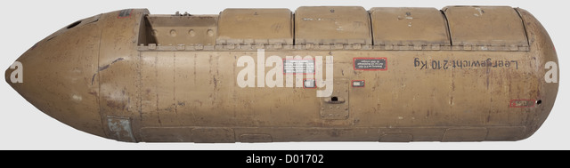 A incendiary Bomb Container BSB 1000, Sheet steel cylinder painted in sand colour, the different sections attached - Stock Image