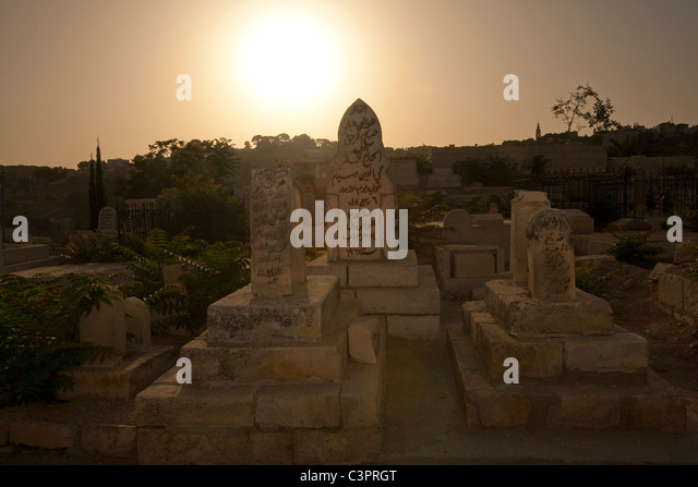 A cemetery near the Western Wall in the Old City of Jerusalem in Israel. - Stock Image