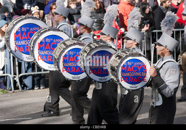 Members of the Plymouth-Canton Marching band perform during the 2011 Macy's Thanksgiving Day Parade in New York - Stock Image