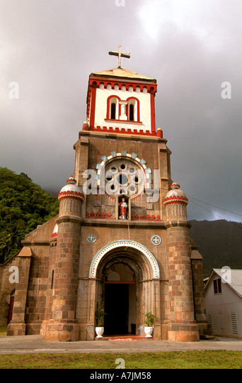 Dominica West Indies Caribbean St Marks Cathedral at Soufriere - Stock Image