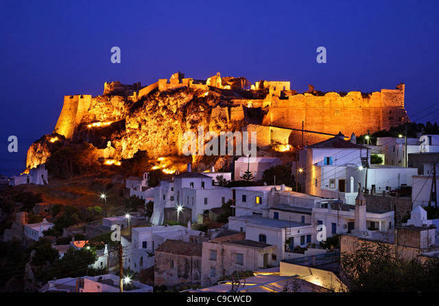 Part of the Hora ('capital') of of Cythera (or 'Kythira') island  with its Venetian castle on top, - Stock Image