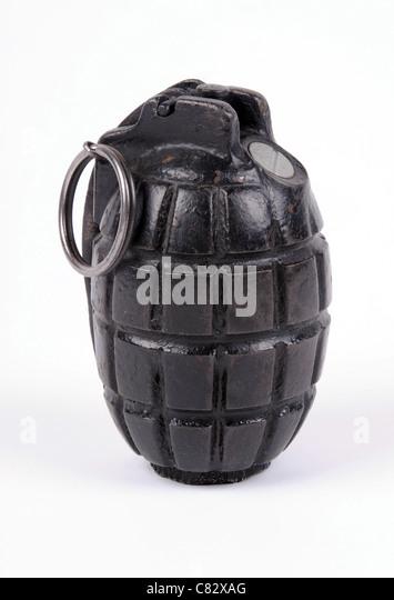 A Mills No.5 Mk.I defensive fragmentation hand grenade or 'Mills bomb' of WWI vintage. - Stock Image