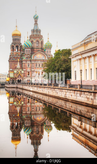 Savior on Blood Cathedral (Church of the Resurrection of Jesus Christ) in St. Petersburg, Russia in the morning - Stock Image