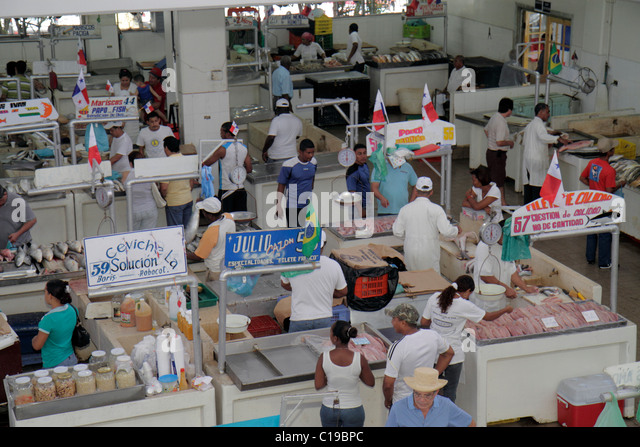 Panama City Panama Ancon Mercado de Mariscos market merchant shopping retail selling fresh fish seafood business - Stock Image