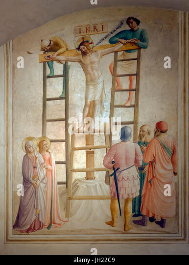 Nailing of Christ to the Cross, Cell 36, by Fra Beato Angelico, 1441-42, Convent of San Marco, Florence, Tuscany, - Stock Image