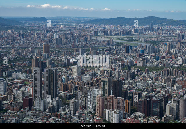 Taipei cityscape as seen from Taipei 101, the world's eighth tallest building at 1667 ft, Taipei, Taiwan, Asia - Stock Image